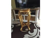 Beautiful Gold Wooden side Table with Onyx/Marble inlay