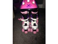 BN Girls roller boots & safety helmet fits size 9-12