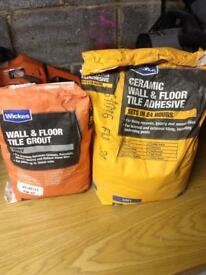 Tile adhesive and grey grout