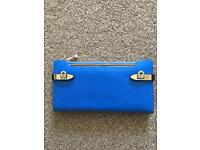 ROYAL BLUE LEATHER PURSE BY PEACH - NEW