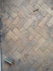 salvaged oak parquet flooring