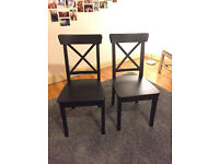 2 black dining chairs in very good condition