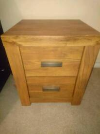 Pair of bedside drawers chunky oak