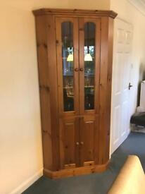 Solid pine corner display unit. Excellent condition