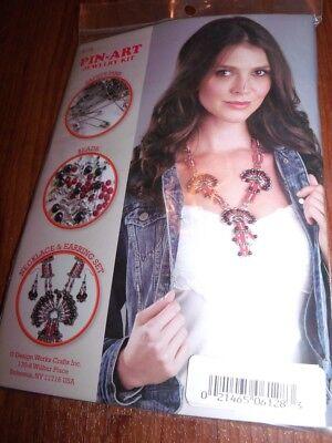 Design Works KACHINA Necklace & Earrings Kit Pin-Art Red Black & Silver