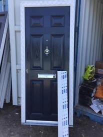 NEW upvc composite front door dark royal blue 890 x 2100 (Ref D7A)