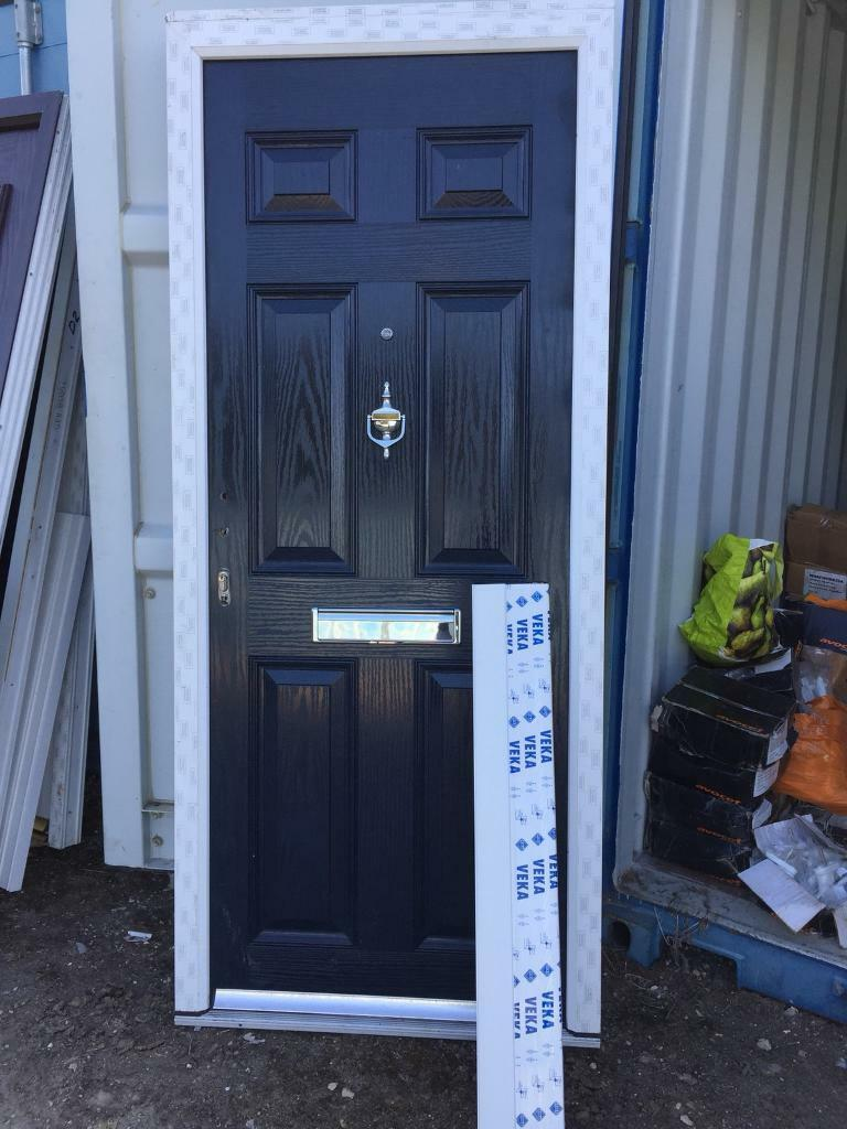 New Upvc Composite Front Door Dark Royal Blue 890 X 2100 Ref D7a