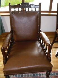 Beautifully Carved Gentlemans Edwardian Mahogany Arm Chair.
