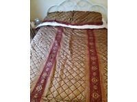Red Gold Comforter, Medieval Duvet with pillows, Floral