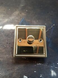 Brass light switches 8 single, 1 dimmer and 1 double switch