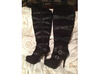 Black suede high heel over knee boots size 7