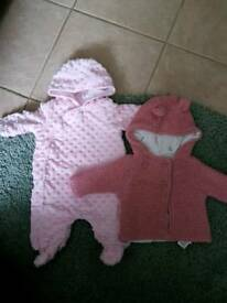2 coats and 1 pram suit and 4 hats age up to 3 months