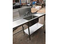 Stainless Steel Sink with Pre Wash Tap and Back Splash