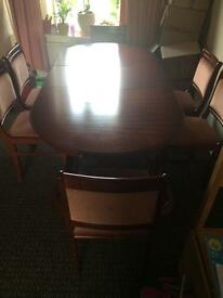 Solid wood extendable table and 6 chairs