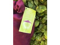 Dark red burgundy garden parasol with stand. Hardly ever used.