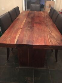 Solid African Oak wood dining table (210cm x 88cm) with 8 brown chairs