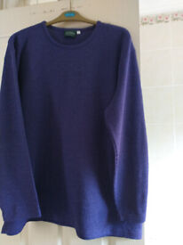 Ladies jumpers (2) XL, Bust 44/46. Round neck. Purple & Oatmeal.
