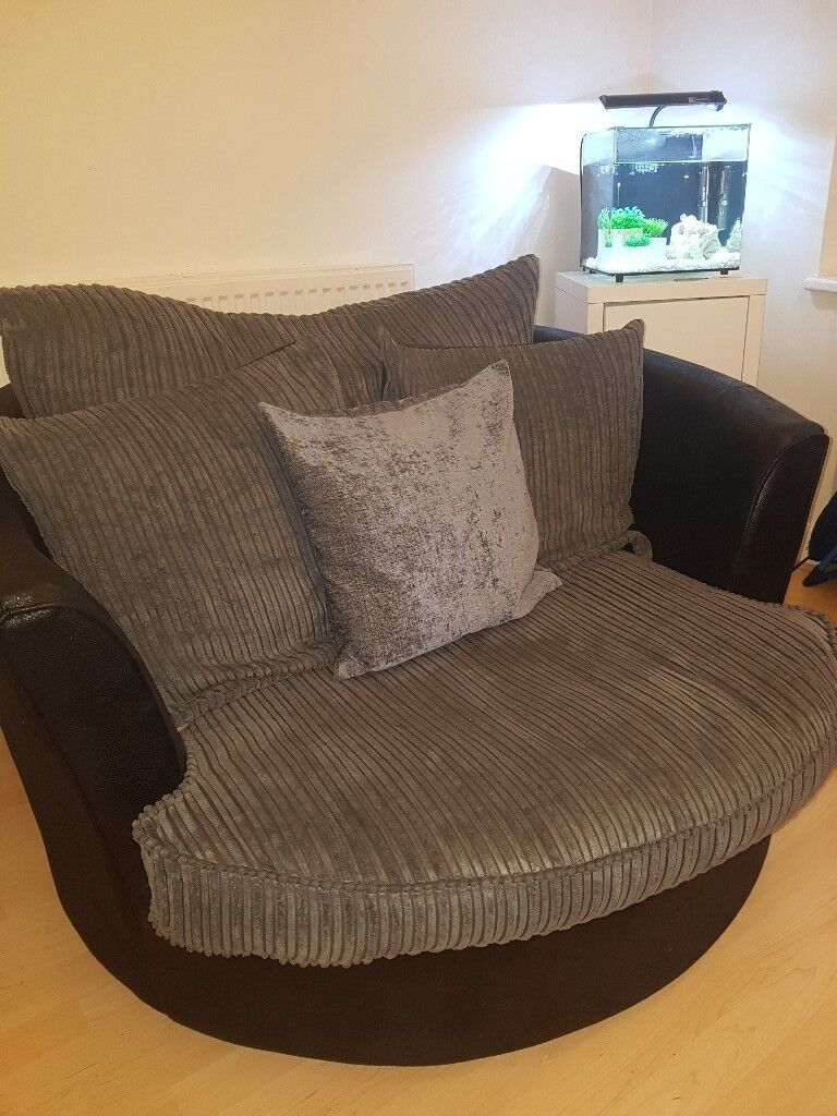 JUMBO CORD 3 SEATER AND LARGE SWIVEL CHAIR