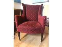 two antique armchairs burgundy perfect condition