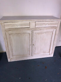 White Distressed Shabby Chic Cupboard with Drawers