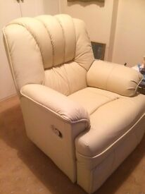 leather reclining chair - cream