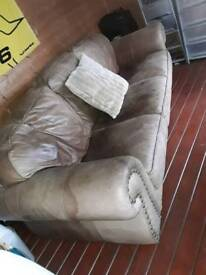 3 seater worn leather sofa