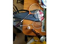 Badminton racquets and shuttle cocks