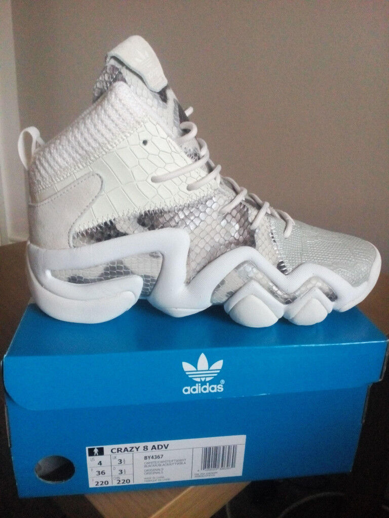 reputable site 2fb29 52cc6 ... amazon new mens woman adidas crazy 8 adv pk white snake shoes by4367  size 36 c5630