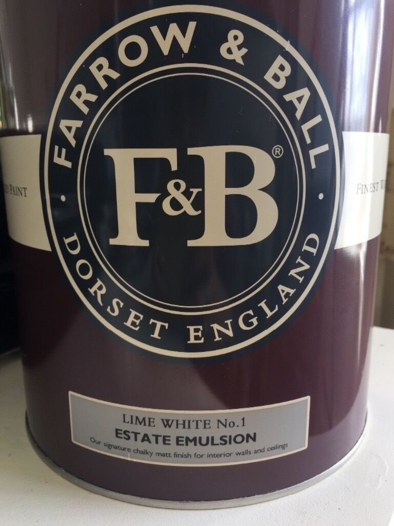 Farrow and Ball Lime White 3L Matt Emulsion Paint RRP Approx60in Bath, SomersetGumtree - Farrow and Ball 5L matt emulsion paint, bought a week ago for £74 (I can show you the receipt if youd like to see it. Opened once. There is still over 3L left. (a 2.5L tin usually costs £52). Beautiful versatile colour. I also have another tin in...