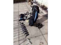 Complete golf set with bag, trolley and shoes