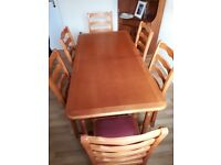 """Solid wood extending table (5'- 6'8"""") + 6 Chairs (velour seats) in teak stain excellent condition"""