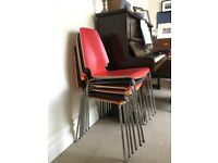 6 x Ikea Stacking Chairs, 2 x each of Orange, Red & Black