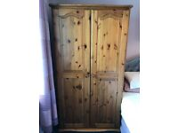 PINE DOUBLE WARDROBE, MEASURES 36 INCHES WIDE x 22 INCHES DEEP, EXCELLENT CONDITION
