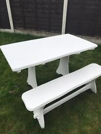 White Table and Bench