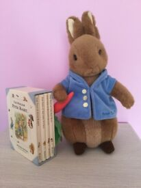 Peter Rabbit soft toy and bookset with 4 books