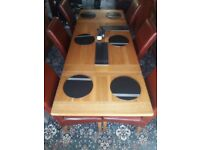 Large oak table with 6 leather chairs. Lovely condition