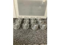 Crackle glass tea light holders and silver led candles- used once!
