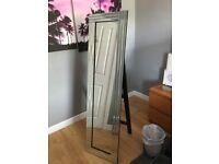 Modern triple panel frame venetian glass free standing cheval stand up mirror - 15in x 59in