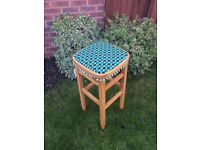 A Lovely 1960's Reupholstered Vintage Wooden Kitchen/Bar Stool