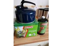 Single burner stove, kettle and propane bottle