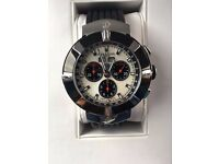 NEW: Phillippe Charriol Celtica Black & Gold Chronograph Men's Watch with Rubber Band