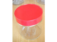 "4 x RED/CLEAR GLASS STORAGE JARS ""24"" (110 x 124mm / 4.25"" x 4.9"") ~820 ml each."