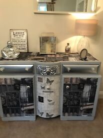 Sideboard / cabinet, painted papered /upcycled