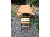 Oak Refectory / Dining / kitchen Table and 6 Oak Chairs for Shabby Chic Project.