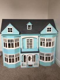 Edwardian wooden dolls house with furniture