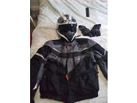 Fieldsheer jacket and HJC Helmet and gloves. With bicke chain and small disc lock