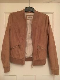 River Island Suede Tan Bomber Jacket