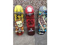 3 skate boards