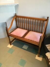 Antique Hall Bench Rare Reversible Seat Cushions Retro