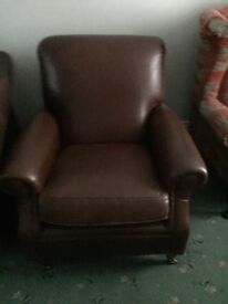 Brown leather sofa and chair very good condition
